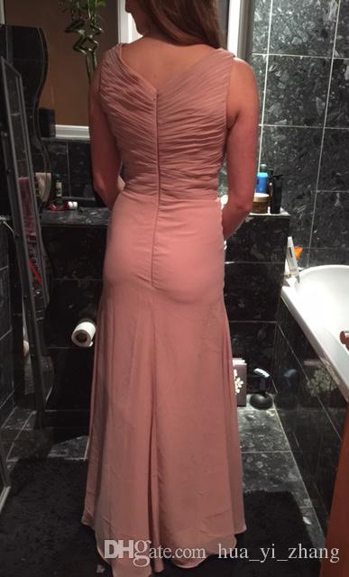 2017 New Real Pictures Dusty Pink Brautjungfernkleider für Elegante Hochzeit V-ausschnitt Rüschen Design Frau Formale Abendkleider