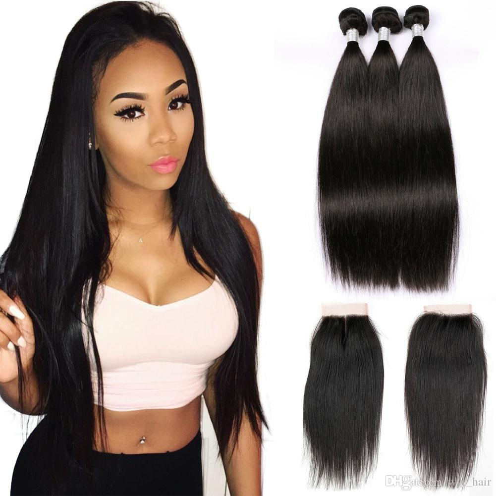 8a Raw Indian Straight Weave Hair Bundles With Lace Closure Free