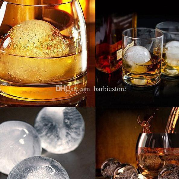 Barra redonda Bandeja del partido del molde de la esfera del molde de la esfera del molde de la bola del cubo del hielo del whisky del silicio E00138 BARD
