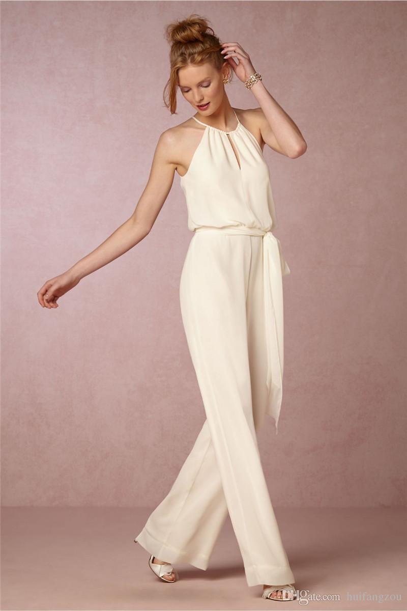 Cheap Chiffon Bridesmaids Pant Suits Jewel Neckline Sleeveless Bridesmaid Gowns Floor Length Custom Made Long Prom Wear