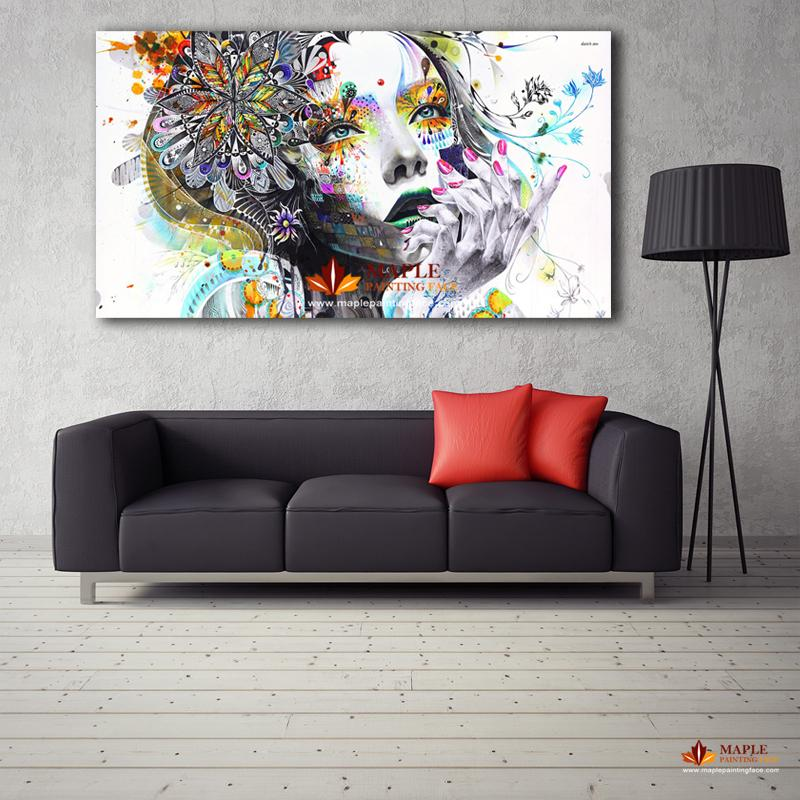 2019 large canvas painting modern wall art girl with - Modern wall decor for living room ...