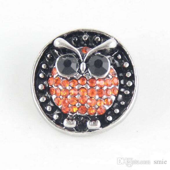 20mm Noosa Chunks owl Ginger Snap Buttons for Noosa Chunk DIY Bracelet Necklace Snaps Jewelry Accessory