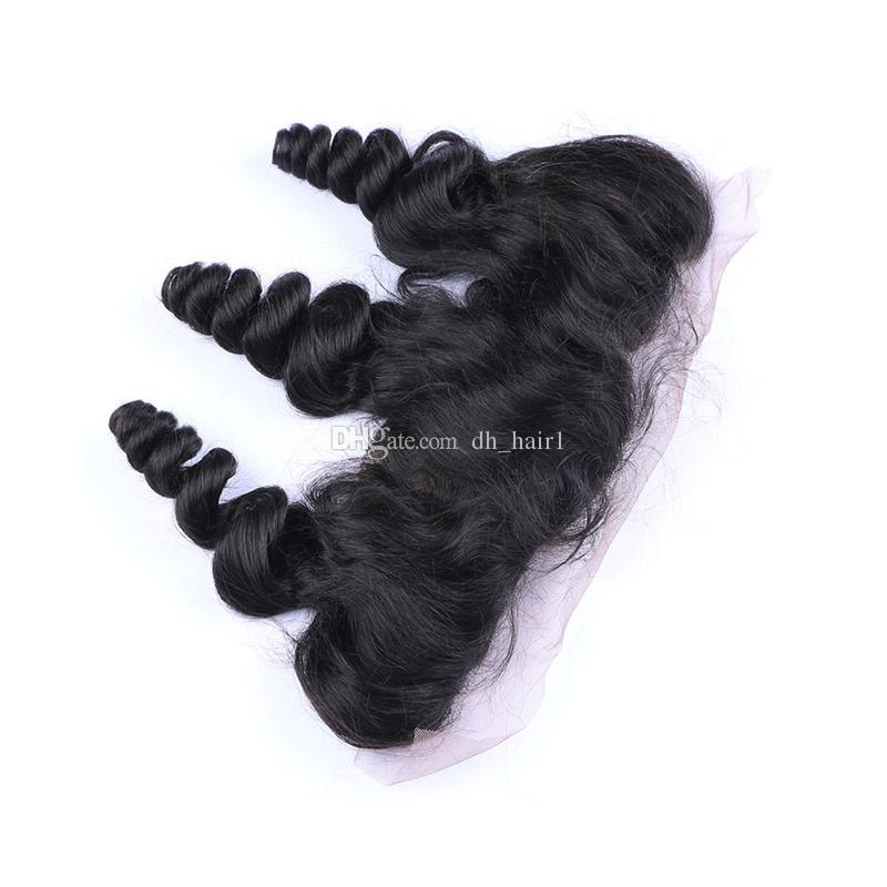 Необработанные малайзийские волосы девственницы с шелковой основой фронтальная свободная волна плетения человеческих волос с кружевом фронтальной закрытием 13 * 4 от уха до уха