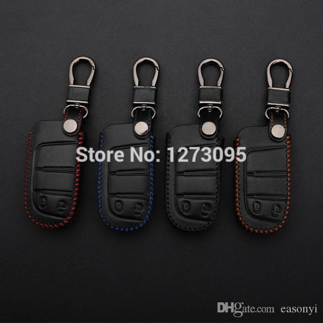 Hand Stitched Genuine Leather Car Keychain for Dodge Journey 2012 2013 2014 2 Buttons Smart Remote Key Ring Cover Case Auto Accessory