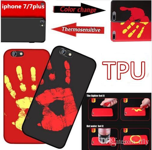 purchase cheap 1b5cb 48e19 Thermosensitive Physical Thermal Sensor Discoloration Funny TPU Case Heat  Sensitive Back Cover Fingerprint Skin for iphone X 8 7 6 6S plus