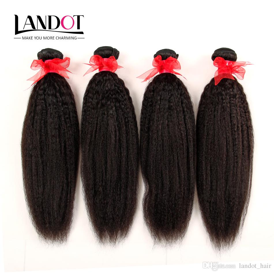Peruvian Malaysian Indian Brazilian Kinky Straight Virgin Human Hair Weave Bundles 100% Unprocessed Italian Coarse Yaki Remy Hair Extensions
