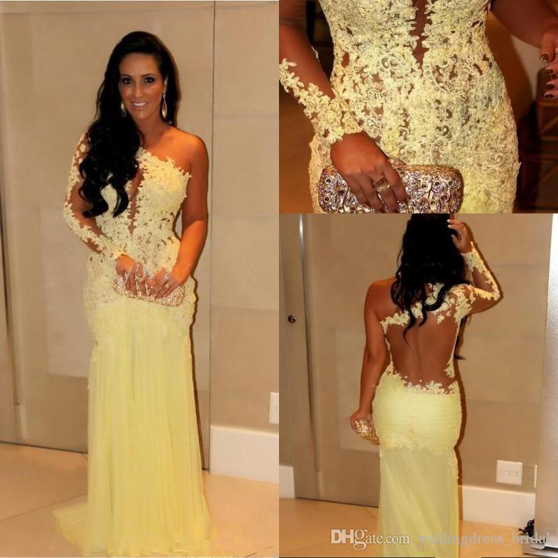 2019 Evening Gowns with Long Sleeves Dubai Lace Formal Dresses Mermaid Indian Celebrity Evening Dresses One Shoulder Prom Gowns Cheap