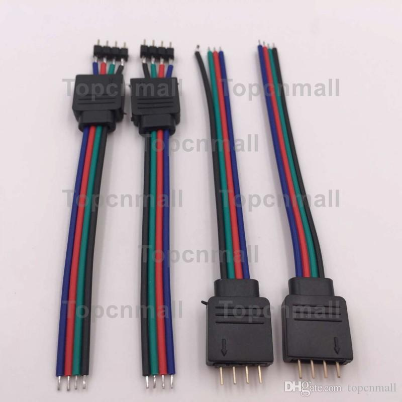 4-pin power Line Connector For 3528 5050 RGB Led Strip Light 4 pin mini jack adapter Male and female wired cable contactor