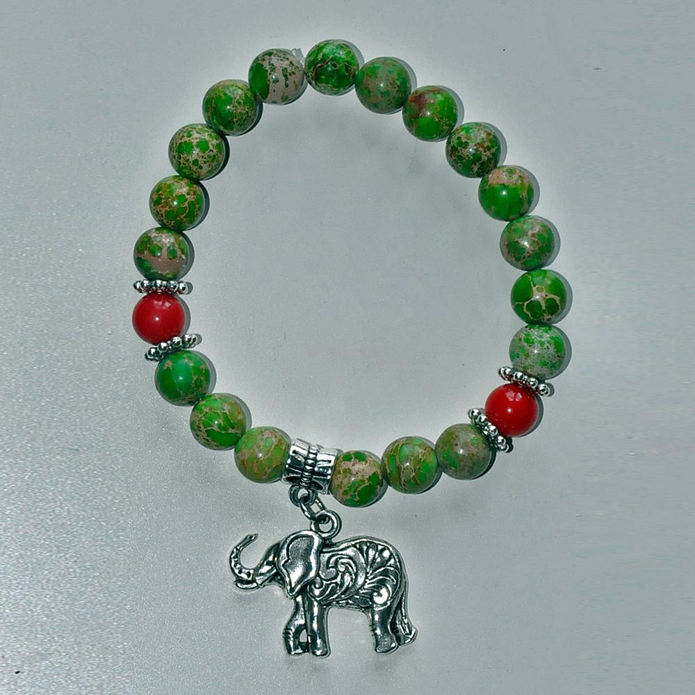 SN0323 Boa Fortuna Elefante Verde Jasper pulseira de sorte Cura energia meditação reiki espiritualidade natural mantra pulseira