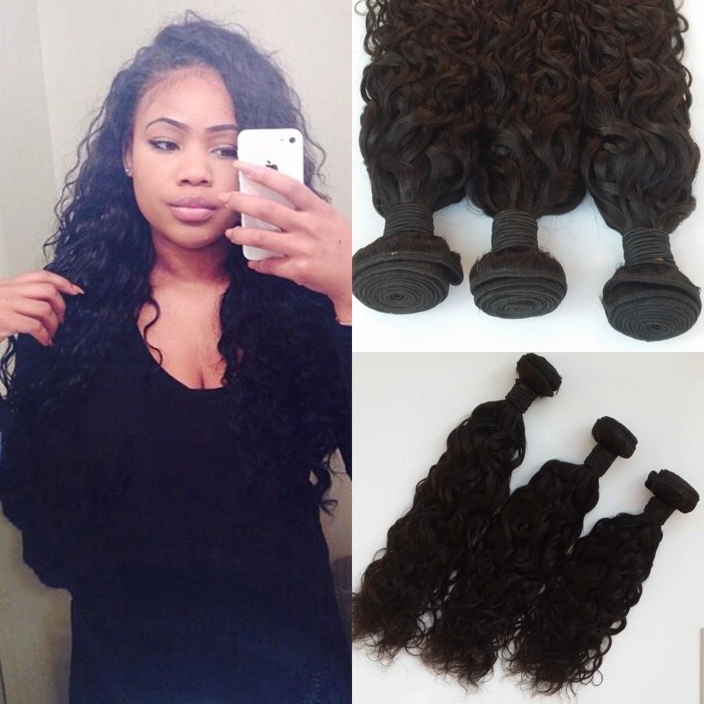Unprocessed Peruvian Hair Water Wave Wet And Wavy Hair Weft Human Remy Virgin Hair Extensions Dyeable G-EASY