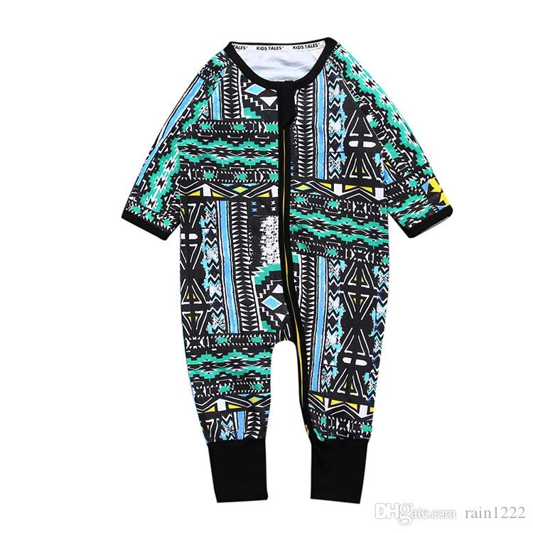 8157fa5c80df 2019 Baby Spring Autumn Onesies Sleepwear Jumpsuits Infants Toddlers  Vintage Printed Zipper One Piece Night Wear Bodysuits Babies Cotton Rompers  From ...