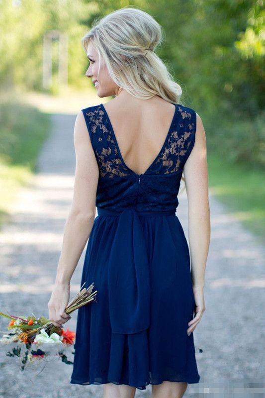 2016 Yaz Bohemian Dantel Gelinlik Modelleri Lacivert Diz Boyu Aç Geri Artı Boyutu Bahçe Düğün Konuk Parti Önlük Hizmetçi Onur Giyer