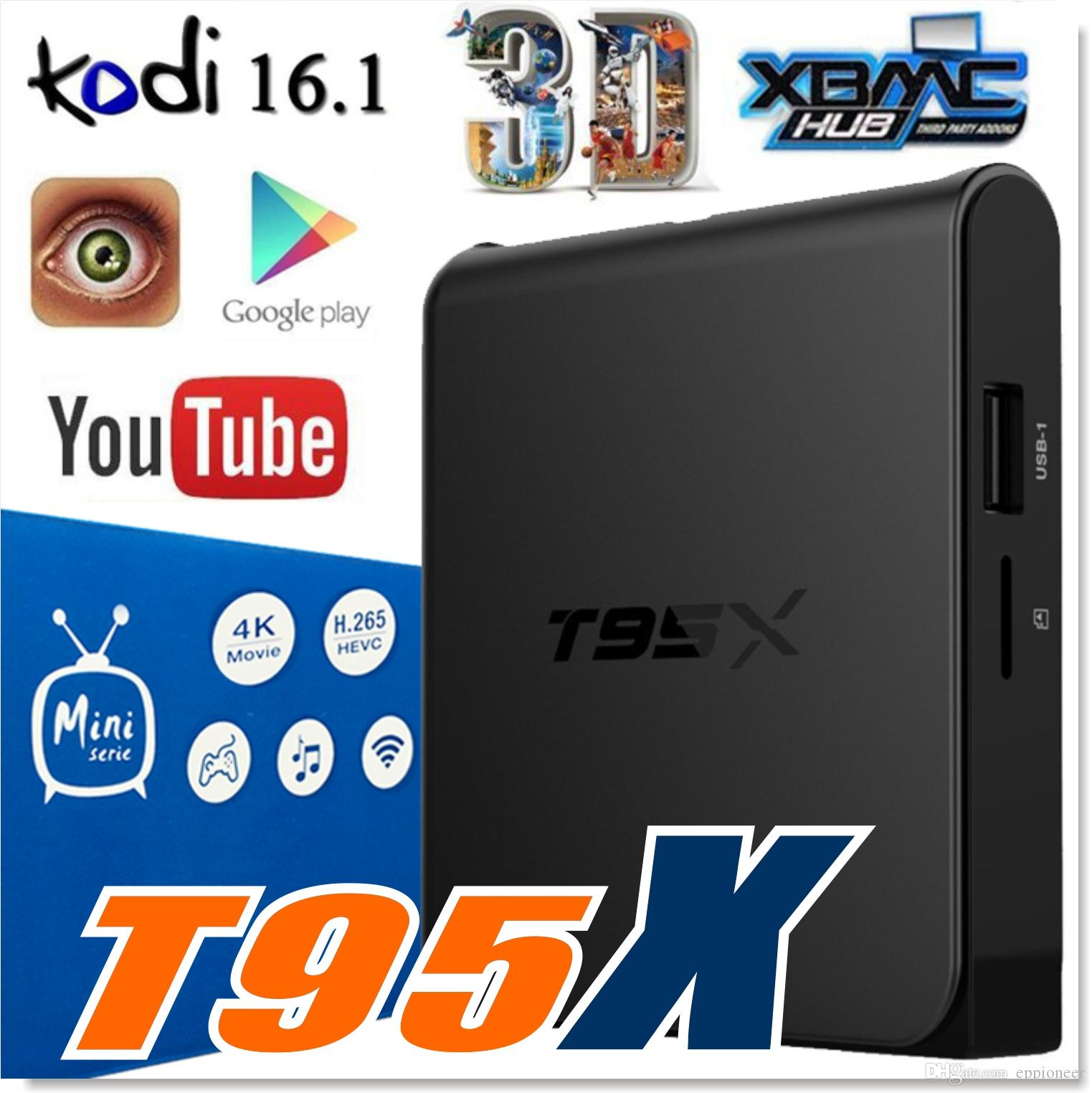 2017 Latest T95x Android Tv Box Amlogic S905x Quad Core Android 6 0 K O Di 16 1 Fully Loaded 1gb Ddr3 Ram 8gb Emmc Flash Miracast Wifi Dlna Net Tv Box Tv