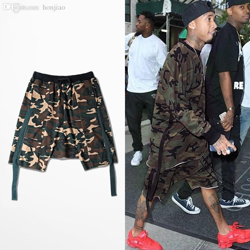 2017 Wholesale C4 Hip Hop Camo Shorts Men Ribbons Camouflage ...