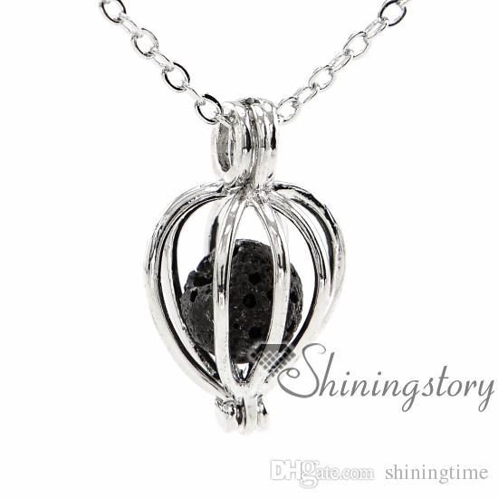 ovalada difusor de aromaterapia calado collar Guardapelos mayor de joyería difusor esencial collar de petróleo metal collar collar de piedra volcánica