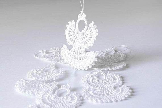 100% artesanal de algodão Crochet anjos de Natal Pendurado enfeites de Natal anjos de crochê Branco decorações da árvore de Natal Conjunto de 12 SD36