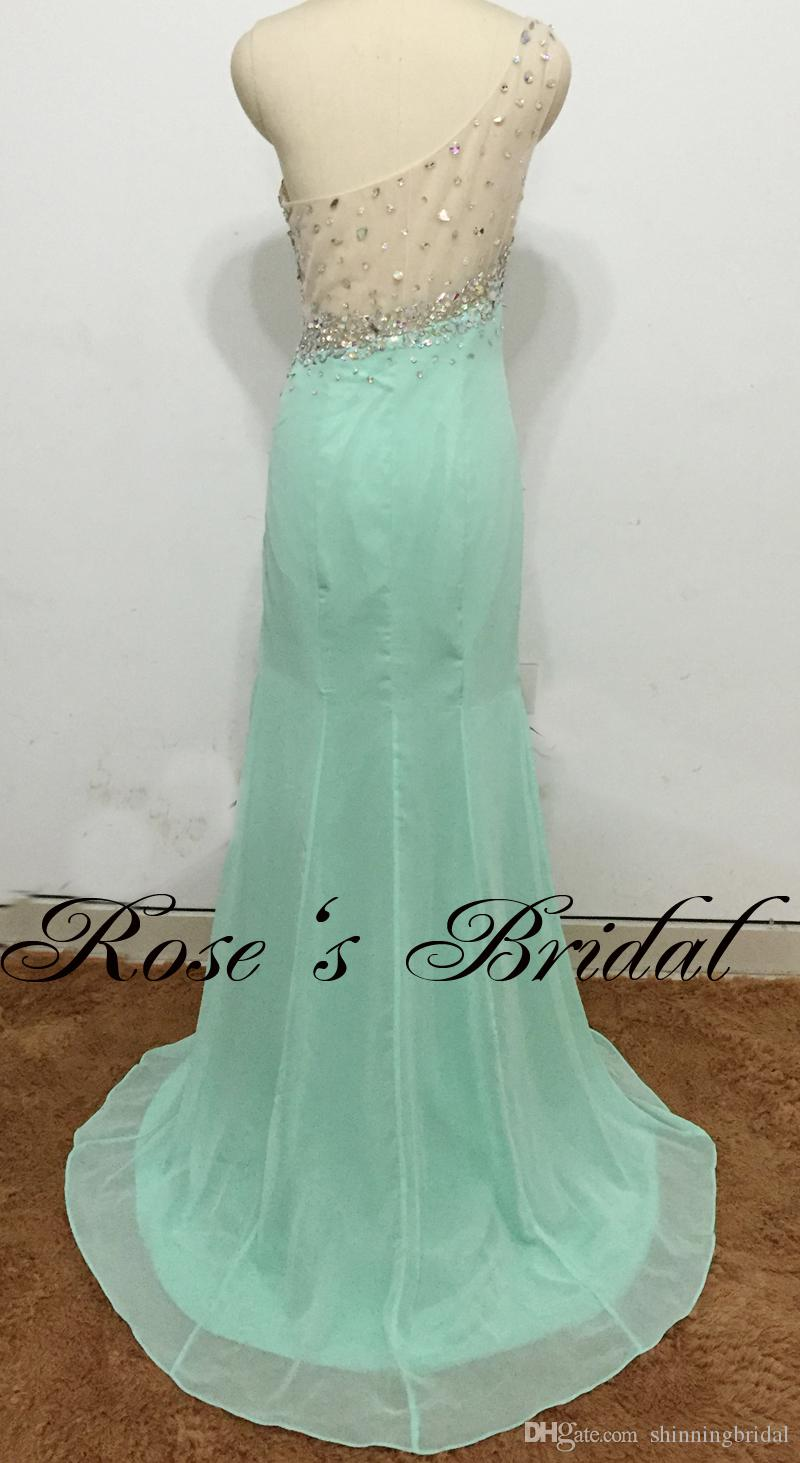 Real Picture Green Prom Dresses 2016