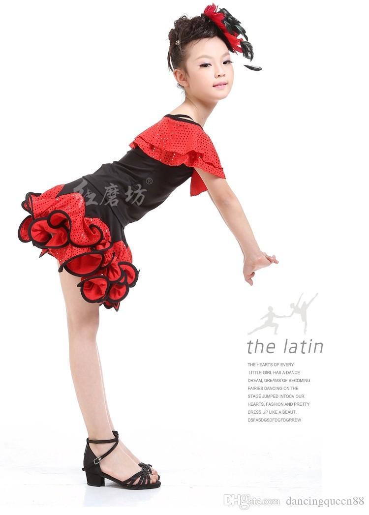 2018 nueva llegada vestido de baile latino para niñas trajes de baile de lentejuelas niños vestido de baile latino niños ropa de baile latino