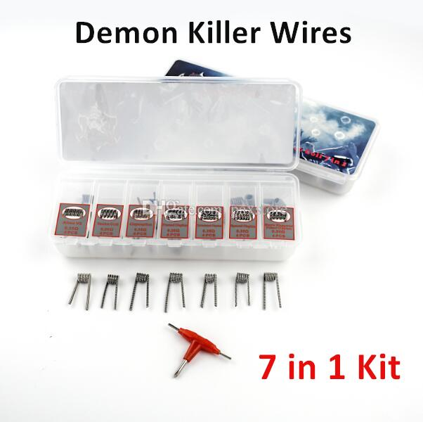 DHL Free Demon Killer Violence Wire Coils 7 in 1 Prebuilt Wire Alien Tri-twisted Clapton Clapception Framed Clapton Spaced Clapton