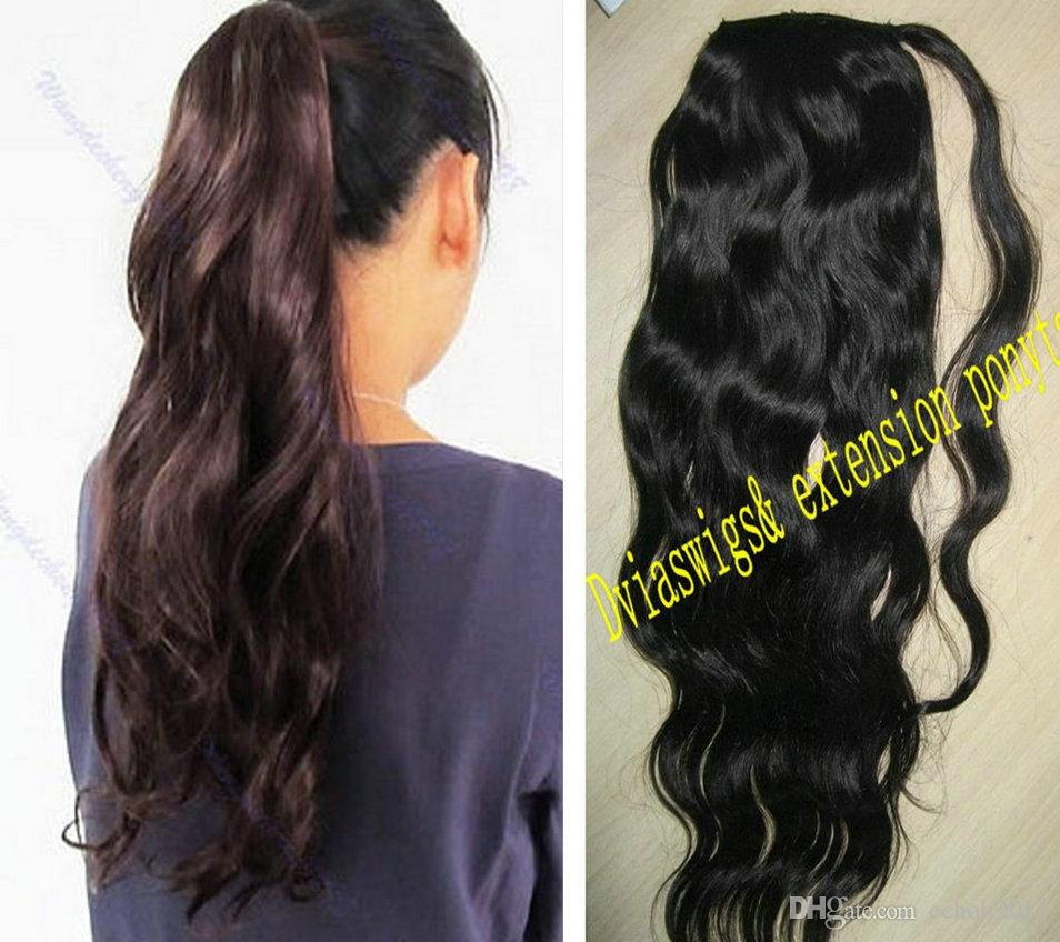 African black wavy 140g human hair wrap around ponytail #1 Clip malaysian virgin hair pony tail human hair Drawstring hairpiece