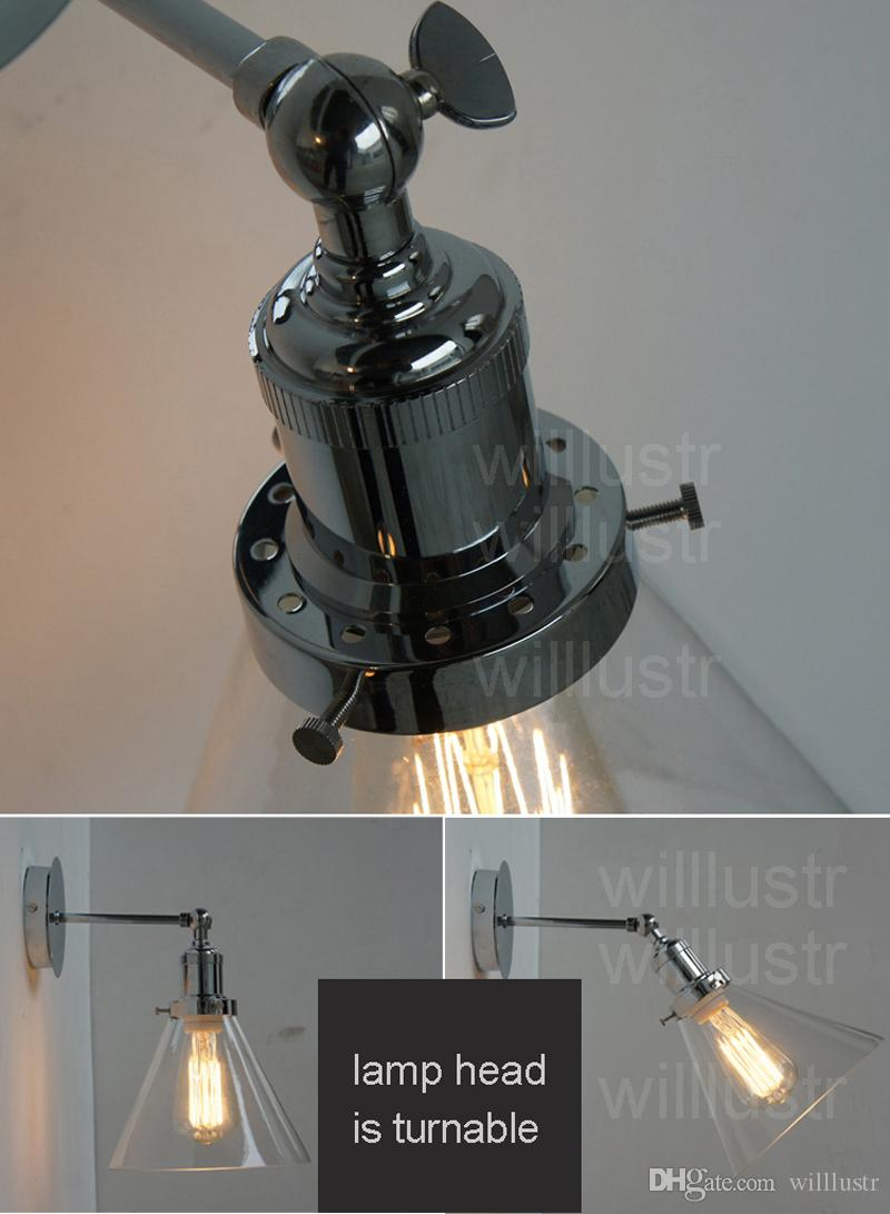 Willlustr funnel clear glass shade lamp chrome color wall sconce America country light lighting fixture hotel restaurant loft cafe bar