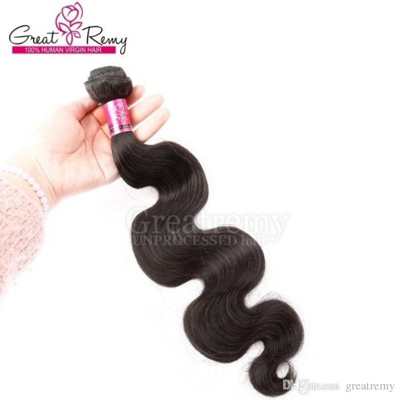 Greatremy Peruvian Hair 3 Bundles Virgin Human Hair Weave Wavy Body Wave Hair Weft Extension Natural Color