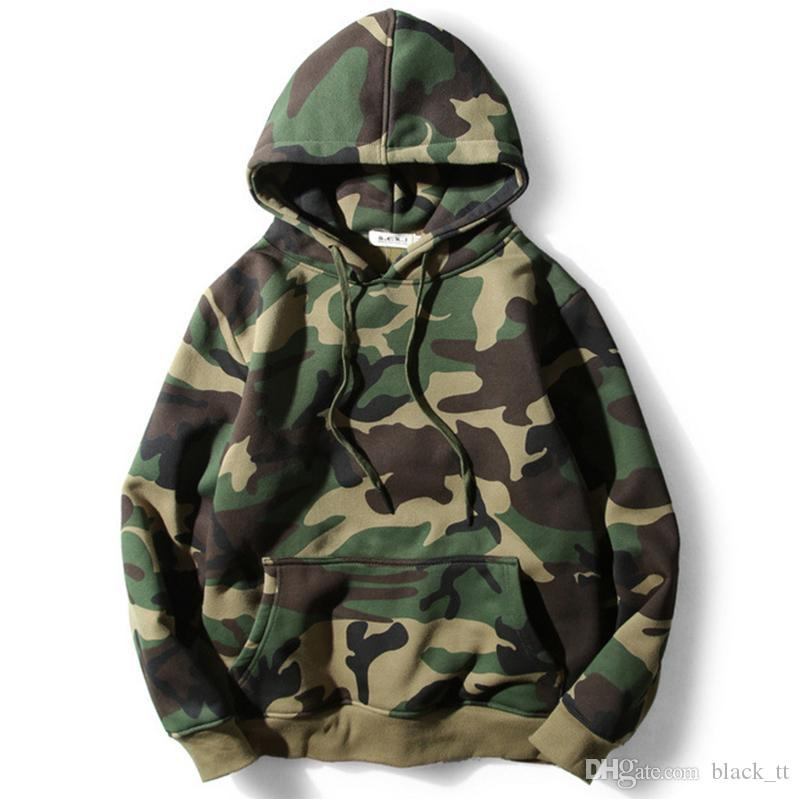 2018 Hoodies Army Green Camouflage Hood Camo Fleece Pullover ...