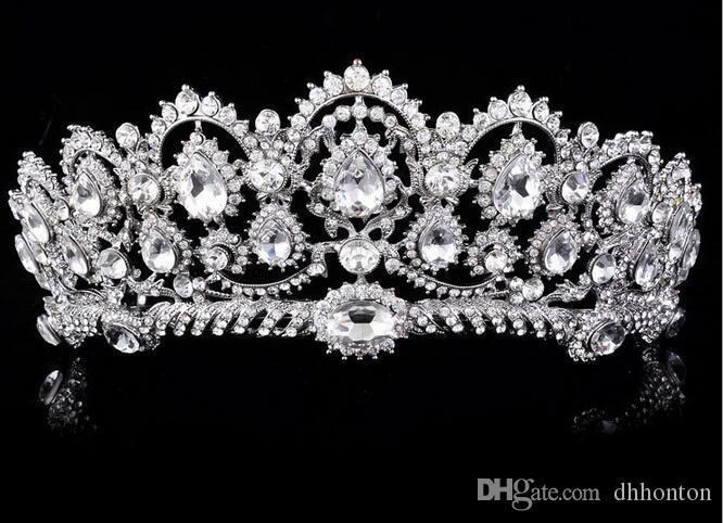 Sparkle Beaded Crystals Crowns Wedding Crowns New Bridal Crystal Velo Tiara Corona Corona Accessori capelli Party Wedding Tiara HT133