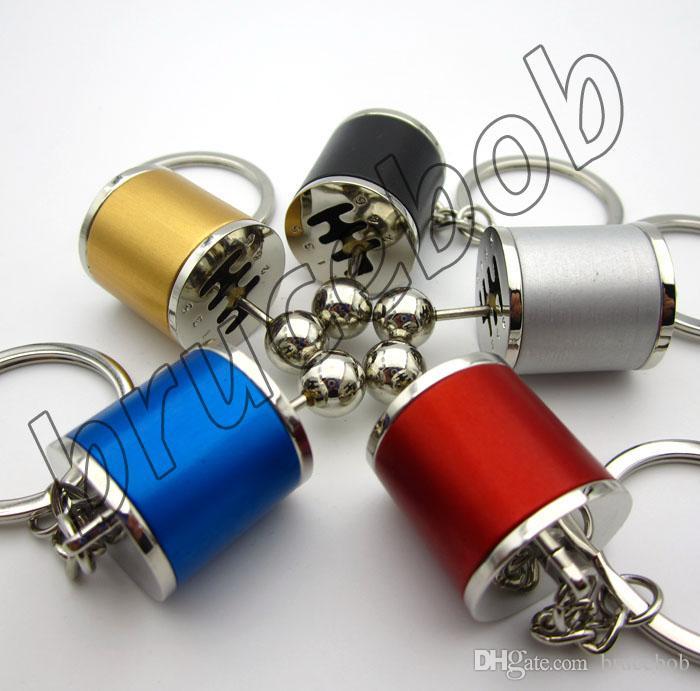 Creative Modified car stalls head Keychain keyring car parts gearcase gear selector lever Shift key holder keyfobs gift