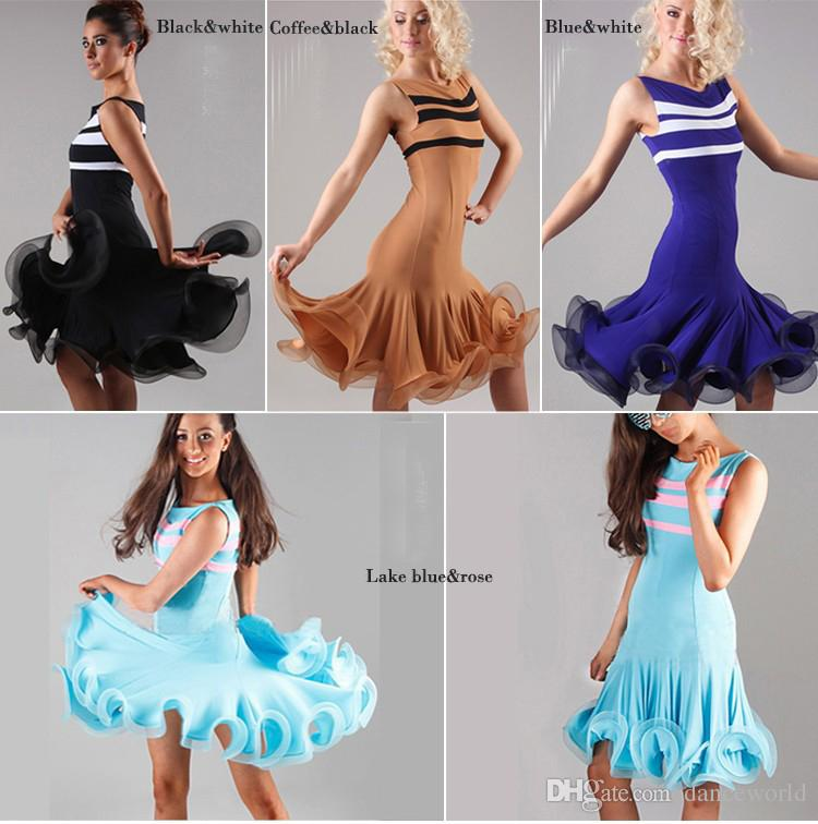 2018 Nuovo Arrivo Lady Ballroom Dance Dress Costume Latino Dance Latine Le Donne Vestidos De Baile Latino Tango / Rumba / Samba Gonna