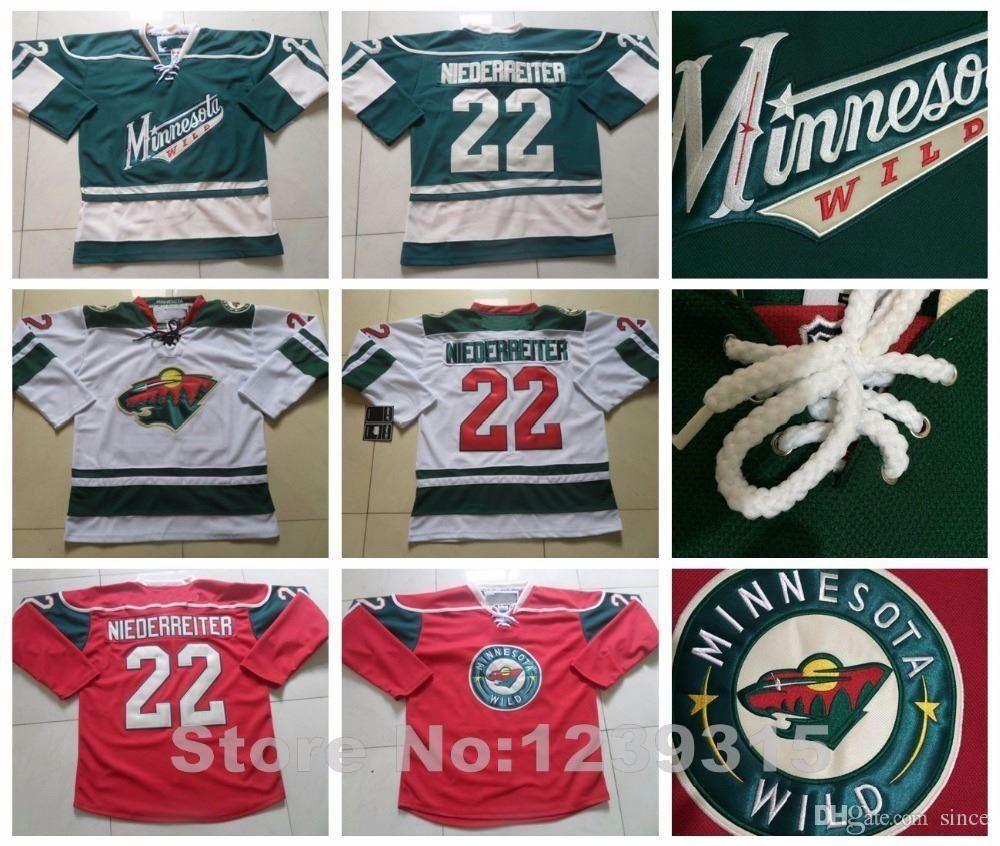 newest 6b02b 0655d 2016 NEW, #22 Minnesota Wild Jerseys Nino Niederreiter Jersey Home Red  White Green Anthentic Nino Niederreiter 100% Stitched Hockey Jerseys