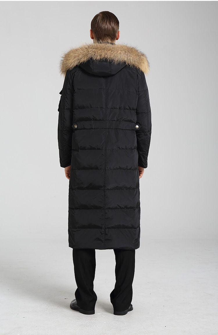Langer Mantel-Winter-Jacken-Entendaunen-Parkas-Waschbär-Pelz-Kragen der Männer langer Verdickung warmer Mantel Outwear-Kleidungs-Großverkauf HEISS im Freien