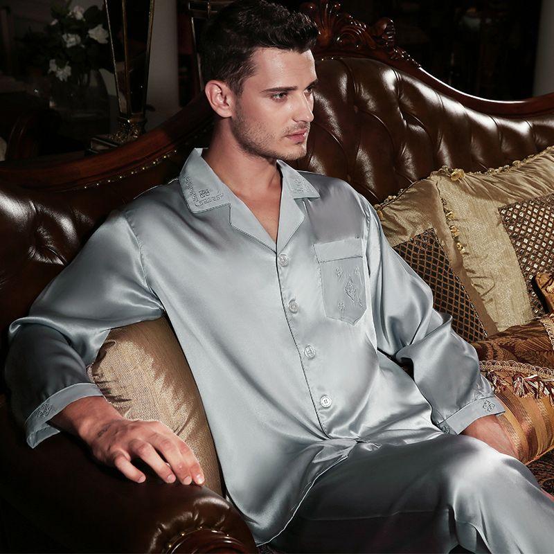 53e049be3c Wholesale-Wholesales Pure Silk Satin Sleepwear Sale Long-Sleeve Men Pyjamas  Pajama Sets Pants 100% Natural Silk Pajama Set YE0170 Pajamas Underwear  Pyjamas ...