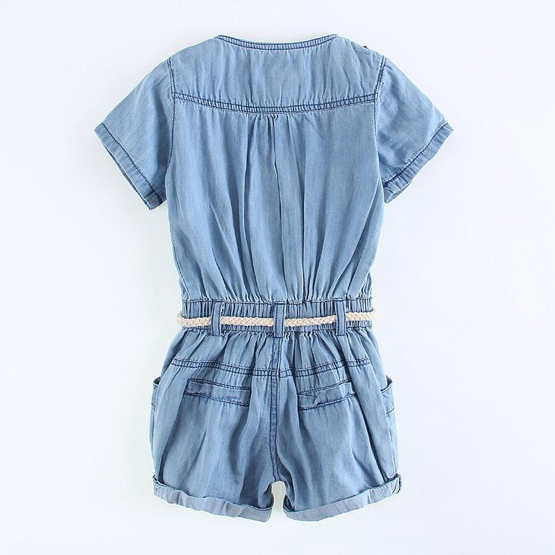 2016 été nouveau bébé filles denim combinaison jupe enfants pantalon de cowboy shorts avec ceinture enfants pantalons siamois fille mignonne une seule pièce barboteuse
