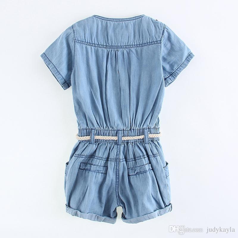 2016 verano nuevo bebé niñas Denim Jumpsuit falda niños pantalones de vaquero pantalones cortos con cinturón niños pantalones unidos linda niña de una pieza Romper