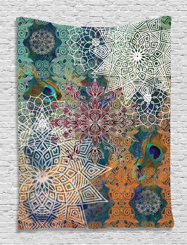 India Mandala bohemio Muro Tapices decorativos Colcha Colcha étnica Arte Toalla floral Playa Meditación Yoga Throw Mat Manta