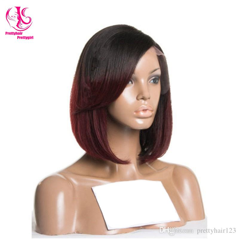Hot sales! Free shipping Burgundy/black ombre bob wig wirth dark roots glueless straight synthetic lace front wig heat resistant wig