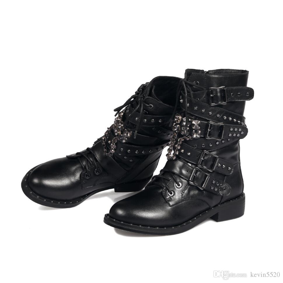 In Autumn And Winter Women The Leather Motorcycle Boots Studded Rivets  Beading Tide Round In Tube Biker Boots Big Size Single Martin Boots Winter Boots  Over ... c2e491c82d7d