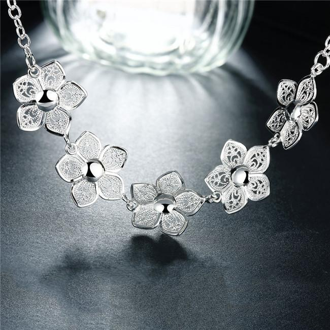 Hot sale Flower Necklace sterling silver plated necklace STSN336,wholesale fashion 925 silver Chains necklace factory direct sale christmas