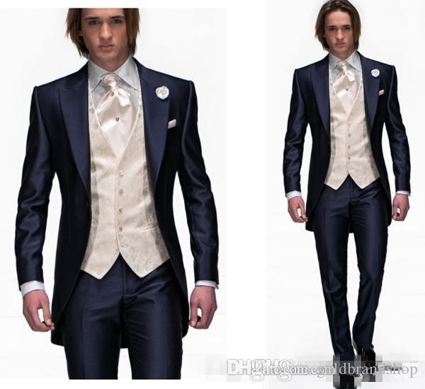 Blue One Button Groom Tuxedos Best Man Peak Lapel Groomsmen Men Wedding Suits Bridegroom Custom Made