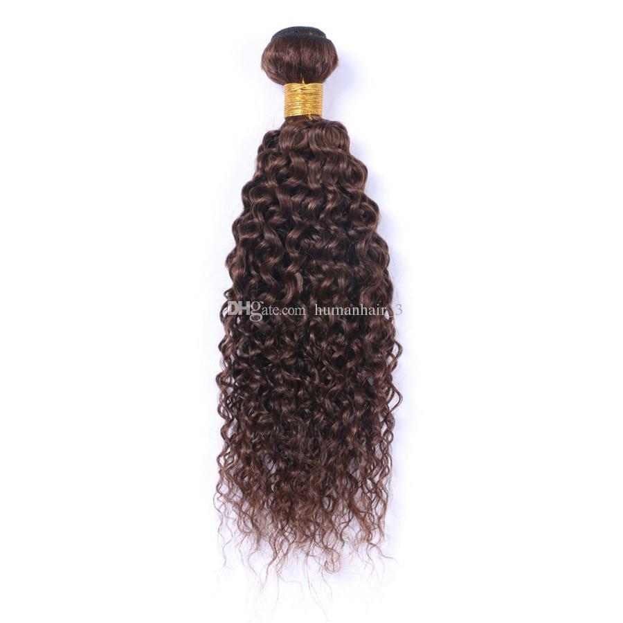 Productos de alta calidad de la trama del pelo de Brown de la onda profunda El pelo de Brwon # 4 castaño rizado profundo teje el pelo humano de la Virgen peruana teje
