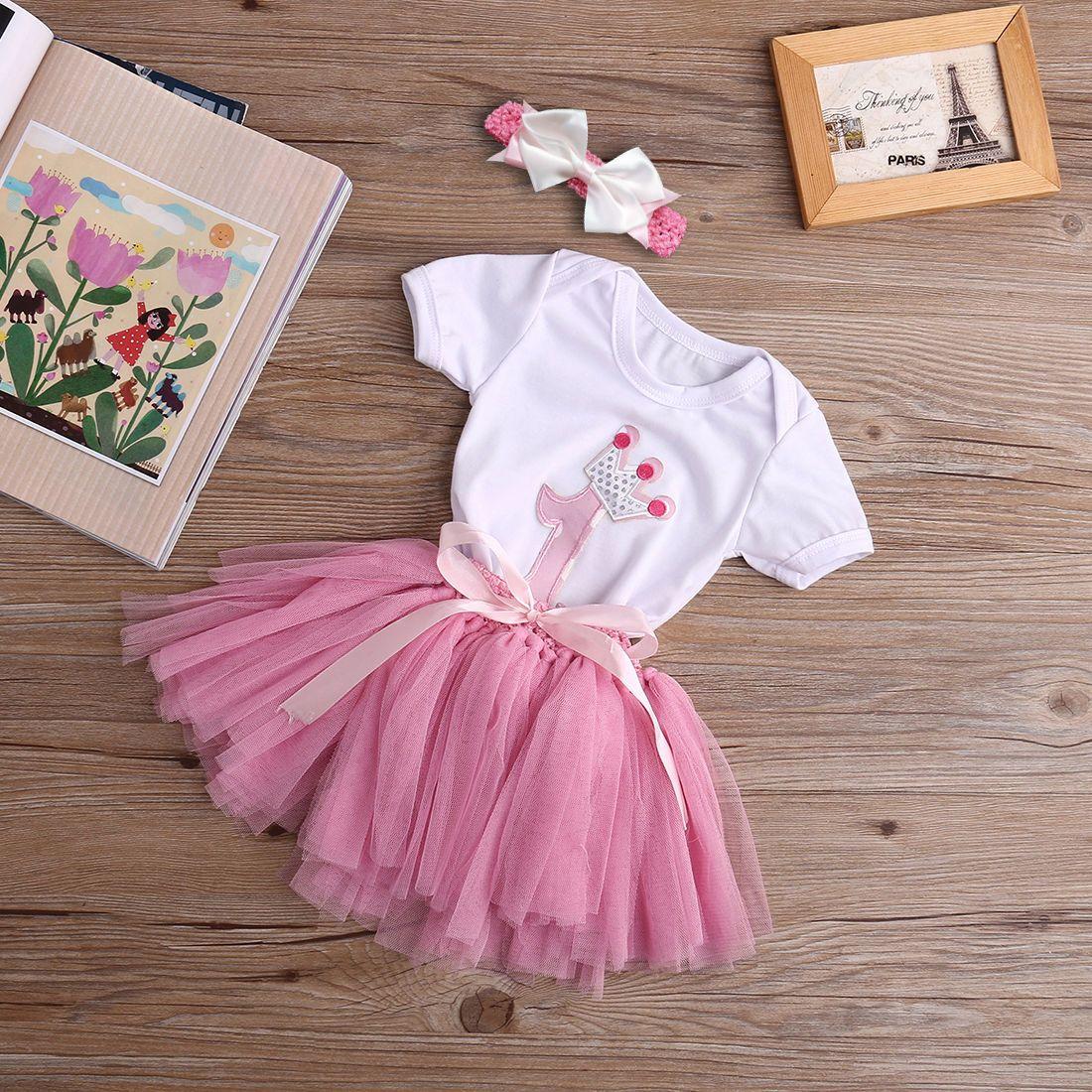 Großhandel Großhandels Baby Girl Stirnband 1. Geburtstag Outfit ...