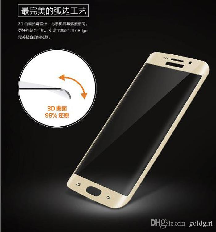 Full Cover 3D Curved side Coverage Tempered Glass Screen Protector For Samsung s6 s7 Note 7 edge plus iphone 7 plus huawei p9 LG G5 K7 K10