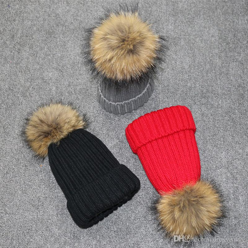 Fox Fur Winner Hats Kids Knitting Solid Cute Hats Girls Boys Hat Toddler Thickened Winter Hats Black grey Red Caps for Women D54