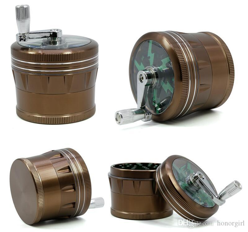 Lighting Herb Grinder With Handle Aluminium Alloy Smoking Grinders Smoke Crusher 4 Layers 63mm Hand Crank Tobacco Grinders