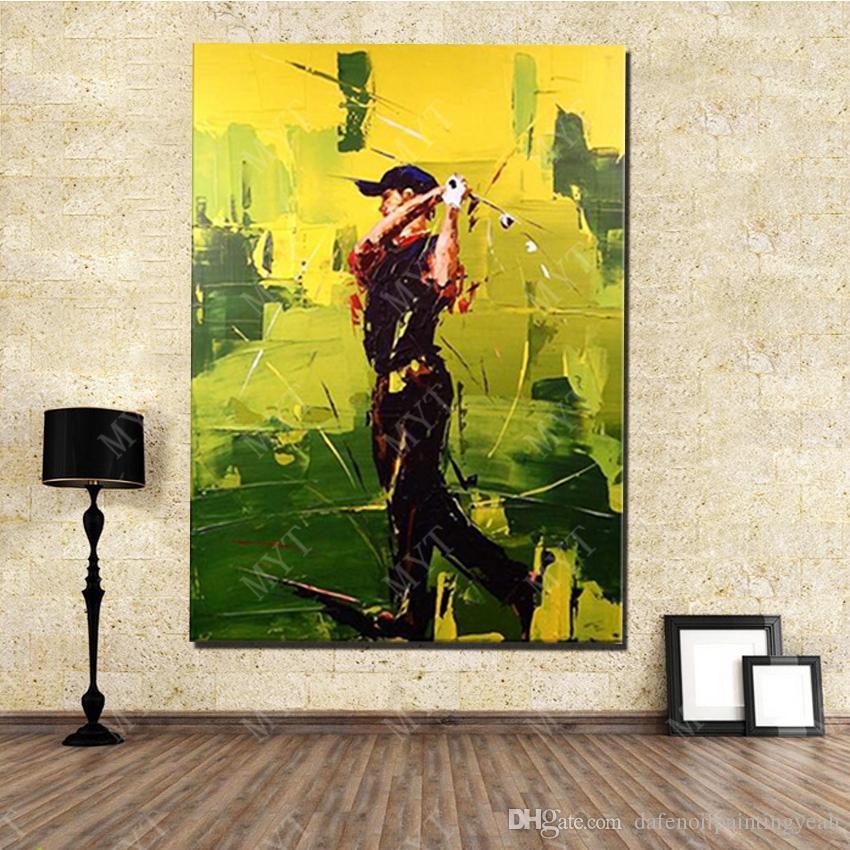 벽 예술 화포 손-짜맞춰지는 거실 훈장을 위한 제작된 추상적인 현대 놀이 골프 유화 그림 없음