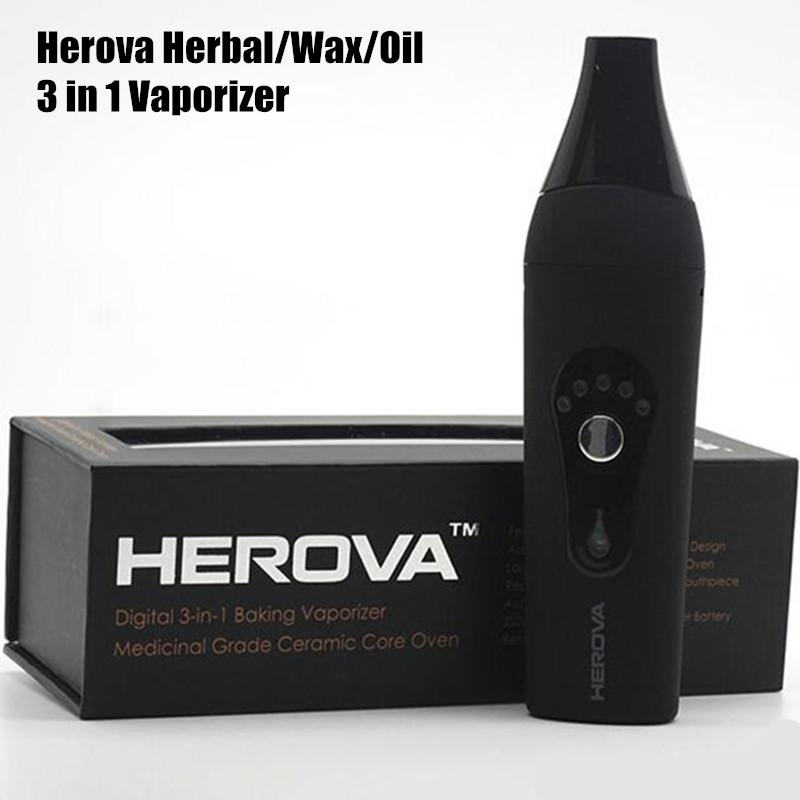 2016 New Dry Herbal Vaporizer Herova 3 in 1 Vaporizer 2200mah Dry herbal Wax Oil Vaporizer Pen Kit with Ceramic coil electronic cigarettes