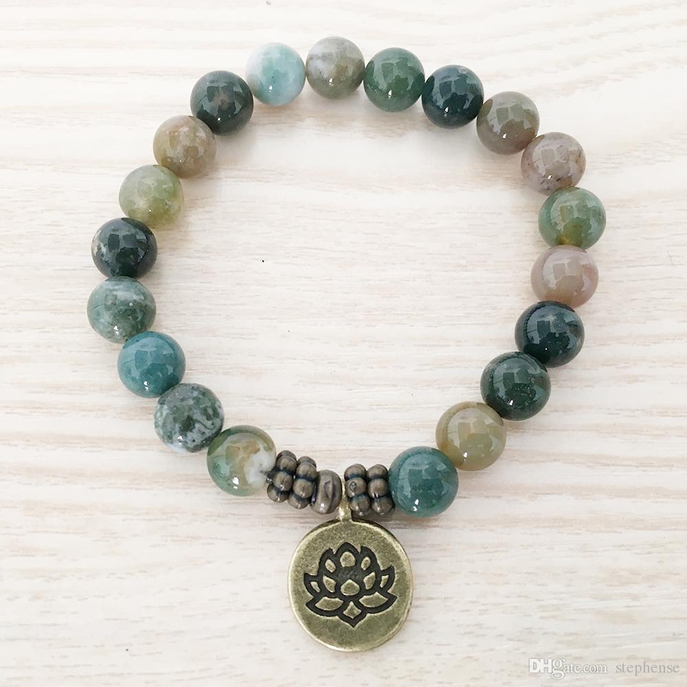 SN1110 Nuovo Design Bracciale da uomo India Agata Ohm Lotus Buddha braccialetto di fascino Mala Yoga gioielli regalo all'ingrosso lui