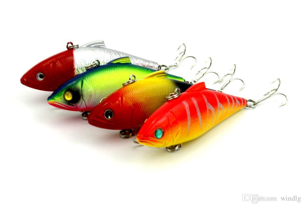 Hengjia VIB 80 stks vissen lokt 8.5cm 11.2g 4 # haken vissen tackle vibrator bas lokaas aas twee genomen