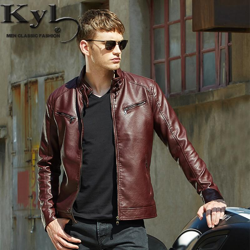 bffbe9c49df Men's Popular Handsome PU Leather Jacket Punk New Red Leather Jackets  Zipper Men Chupas De Cuero Hombre 609
